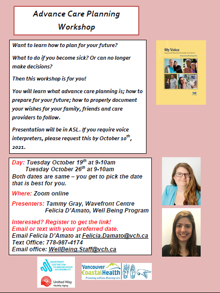 Flyer about Advance Care Planning workshop that will be offered virtually on Oct 19 and 26